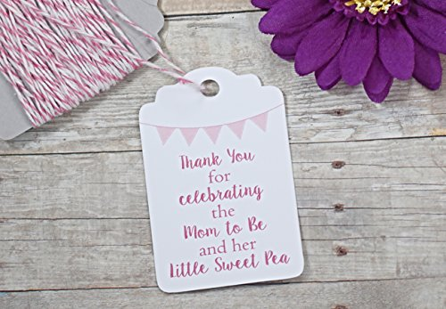 Baby Girl Shower Thank You Tags - Thank You for Celebrating the Mom to Be and Her Little Sweet Pea (Set of 20) -