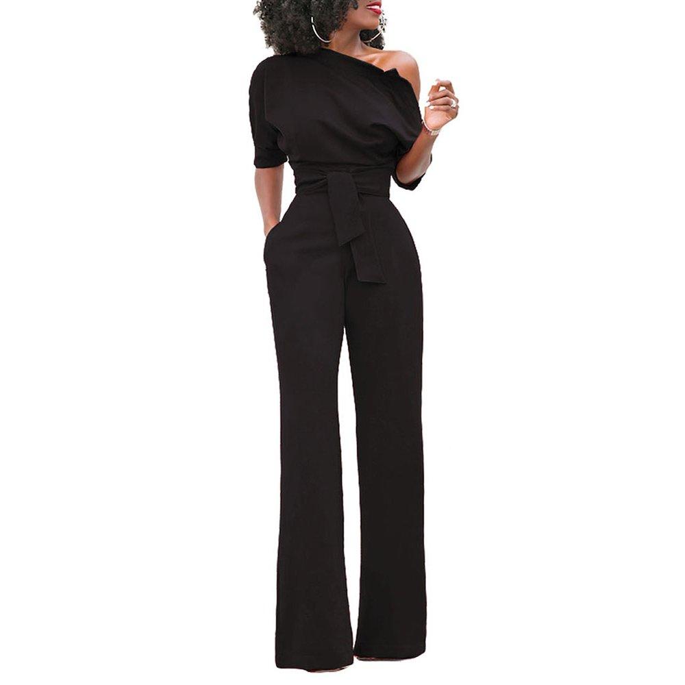 26c4a30b0a5e Amazon.com  Eiffel Women s One Shoulder Wide Leg Jumpsuits Rompers Long  Pants Bodysuit  Clothing