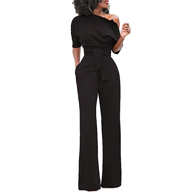2cb8999f290 Eiffel Women s One Shoulder Wide Leg Jumpsuits Rompers Long Pants Bodysuit  Black Size Small