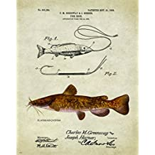 Antique Fly Fishing Lure US Patent Poster Art Print Flathead Catfish Largemouth Bass Walleye Muskie Lures Poles 11x14 Wall Decor Pictures