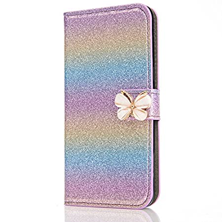iPhone 8 Glitzer Hülle, iPhone 7 Leder Hülle, Hülle Flipcase für iPhone 8 with 4, 7 Zoll, Cool 3D Butterfly Bling Glitter Diamond Musterg Ledertasche Slim Retro Leder Bookstyle Handyhülle Tasche Wallet Case Handytasche mit Standfunktion Karteneinschub und