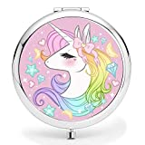 Compact Purse Mirror, Cute Unicorn Pattern Design ravel Mirror, Mini Makeup Mirror Romantic Gifts for Women and Girl(Unicorn5)