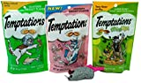 Temptations Low Calorie Cat Treats 3 Flavor Variety with Toy Bundle, 1 Each: Seafood Medley, Shrimpy Shrimp, Catnip Fever (3 Ounces)