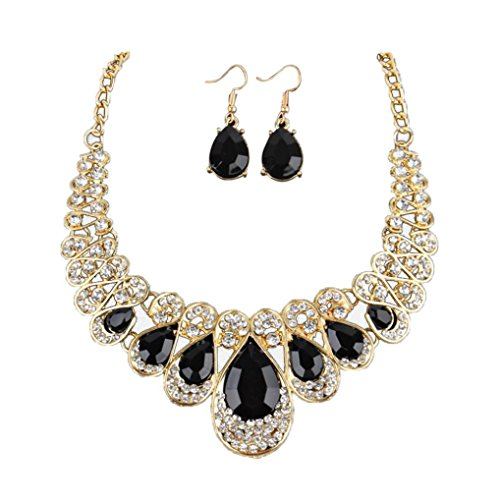 Women Crystal Necklace Jewelry Statement Pendant Charm Chain Choker Black by TOPUNDER