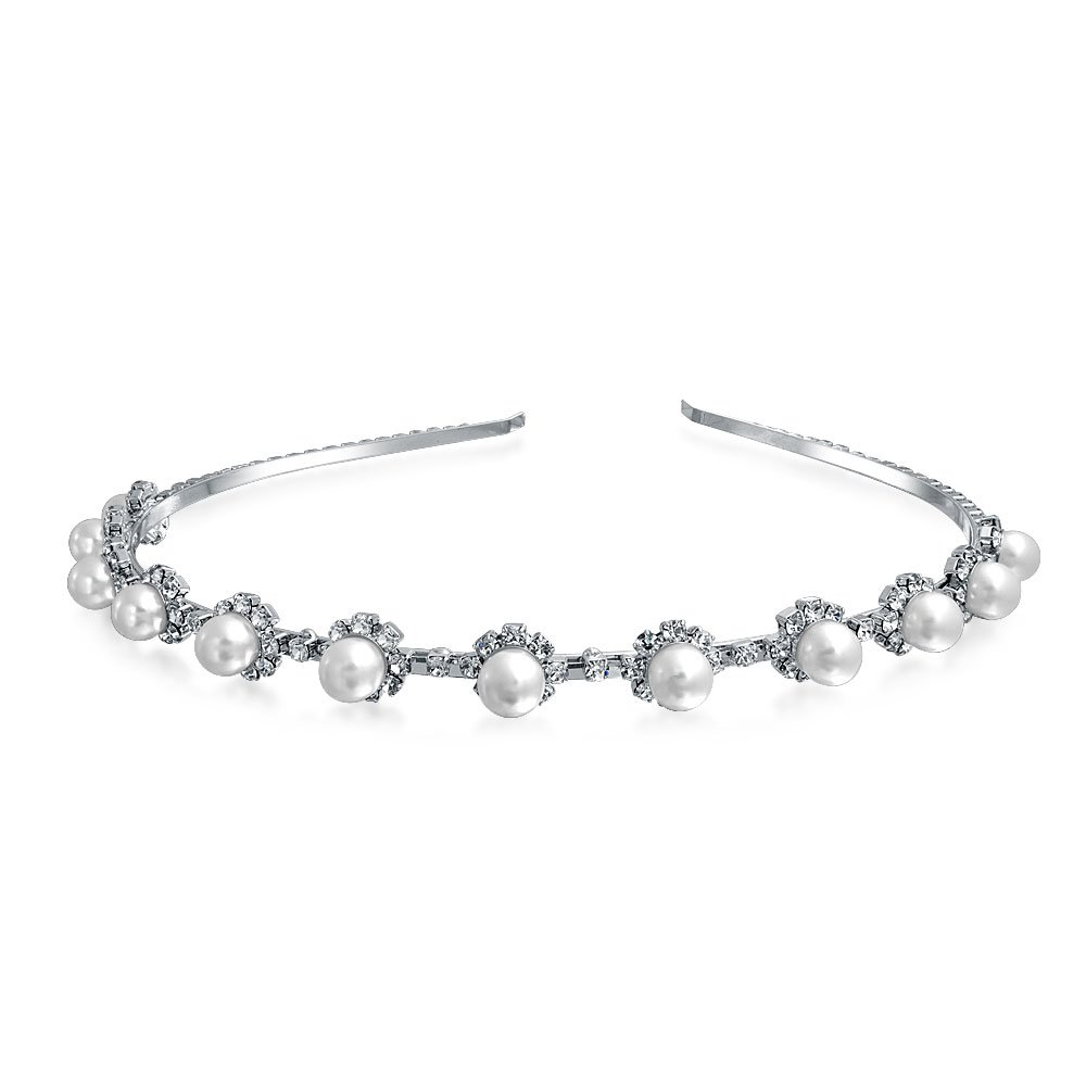 Simulated Pearl Flower Crystal Tiara Headband Silver Plated Bling Jewelry BBL-142681-VRL