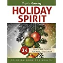 Holiday Spirit: Grayscale Coloring Book for Adults