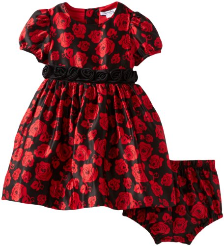 Hartstrings Baby Girls' Rose Pattern Charmeuese Dress and Diaper Cover Set