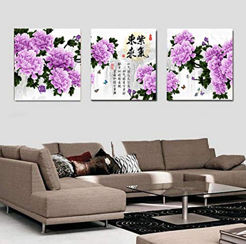 sasdasld d 3 Piece Deocracion Chinese Painting Print Purple Peony Flowers for Home Decorative Wall Art Painting On Canvas-4050cm3 No Frame