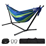 GreenWise 9Ft Double Hammock Space Saving Steel Stand Travel Beach Yard Outdoor Camping (Blue)