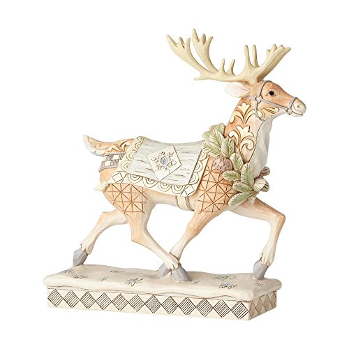 Department56 Enesco Jim Shore Heartwood Creek Whitewoodland Running Reindeer, Multicolor