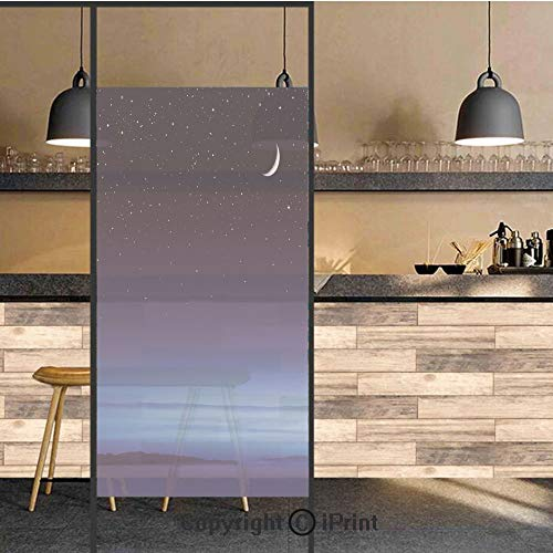 3D Decorative Privacy Window Films,Moon and Stars over Santa Barbara Channel Infinity Foggy Pacific Ocean Decorative,No-Glue Self Static Cling Glass film for Home Bedroom Bathroom Kitchen Office -