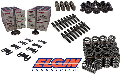 Valve Train Kit compatible with Chevrolet Small Block Chevy 350. Int. & Exh Valves+Springs+Reatiners+locks+ Guideplates (1.94/1.50 -