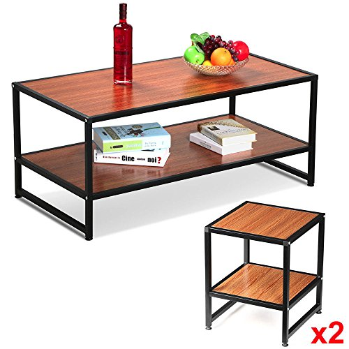 Eight24hours Modern Wood 3 Piece Coffee Table Set Rustic Coffee Table Sofa Side End Table Set