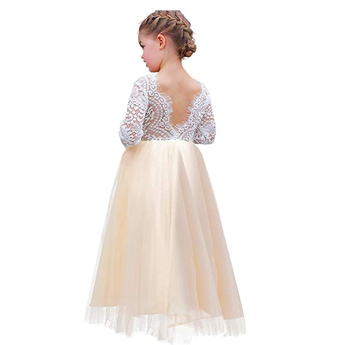 Luckymily Flower Girl Dress Lace Tulle Backless A Line Long Sleeve Pageant Party Tutu Princess Maxi Dress