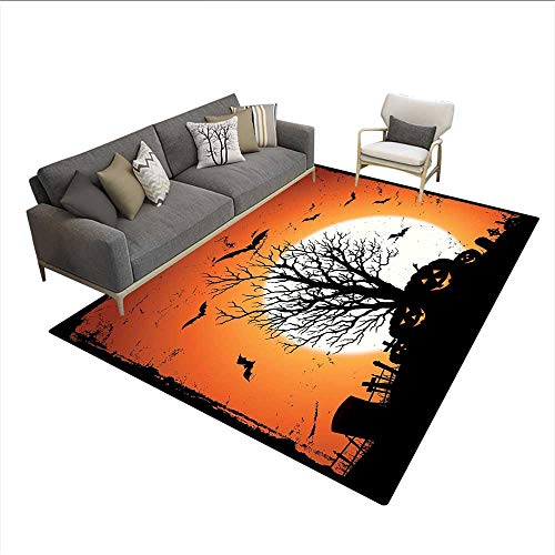Floor Mat,Grunge Halloween Image with Eerie Atmosphere Graveyard Bats Pumpkins,Rugs for Bedroom,Orange Black 6'x9' ()