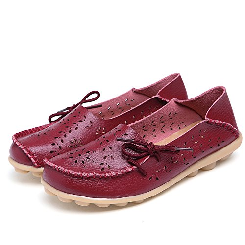 Lucksender Frauen aushöhlen Carving Casual Leder Fahren Flache Loafers Schuhe Weinrot