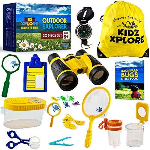 20 pack-explorer set kidzxplore | nature exploration kit children outdoor games mini binoculars kids compass whistle magnifying glass bug catching STEM Gift + ebook adventure activities bugs brochure
