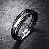 Dalino Fashion and Personality Lastest Creative Tide Male Multilayer Design Leather Bracelet(Balck)