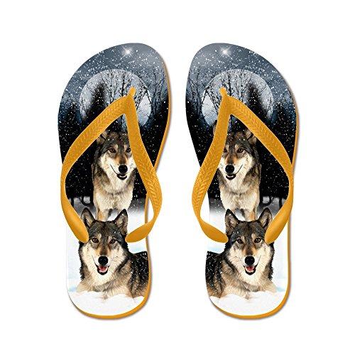 Cafepress American Indian Style Wolf - Flip Flops, Grappige String Sandalen, Strand Sandalen Oranje