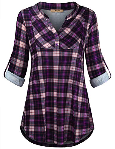 Miusey Womens Mandarin Collar Plaid Roll Sleeve V Neck Flowy Loose Tunic Blouse (Medium, 63# Purple) ()