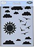 Elizabeth Craft Designs S005 N/A Stencil 5''X7''-Partly Cloudy