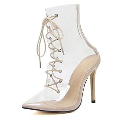 31a38e9430f Women s Mid-Calf Boot Sexy High Heels Women Lace Up Shoes Fashion  Transparent Personable Boot