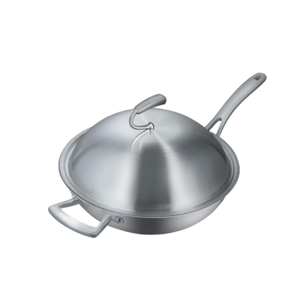 鍋、304ステンレス鋼中華鍋、13.6インチ無塗装平底鍋、ガスストーブ、電磁調理器を使用できます。 (Color : Silver)  Silver B07QNVSVMZ