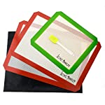 Silicone Baking Mat Set of 5 Non Stick 3 Silicone Baking Mats and 1 BBQ Grill Mat and 1 Basting Brush Professional Grade Non Stick Baking Sheet for Bake Pans & Rolling Silicone Oven Mat Baking Sheet 7 ❤This baking sheet is suitable for oven, microwave and refrigerator. Can be used at temperatures varying from -40 degree to 500℉ (260°C). High quality and durable, can be reused for up to 4000 times ❤Non-stick, easy to clean, just wash with soap and water, rinse, shake off water and air dry. No oil, sprays or parchment paper needed ❤Made with silicone-coated fiberglass mesh, these professional-grade mats provide evenly spreaded heating. You get consistent, delicious results - no burned or undercooked spots!