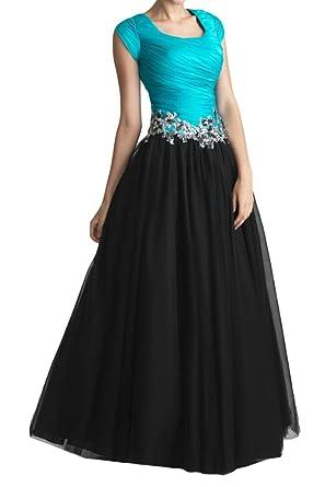 Gorgeous Bride Elegant Kurz Aermel A-Linie Taft Applikation Ballkleid Prom Kleid  Abendmode-32