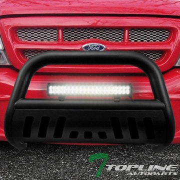 (Topline Autopart Matte Black Bull Bar Brush Push Bumper Grill Grille Guard With Skid Plate + 120W Cree LED Fog Light For 98-11 Ford Ranger)