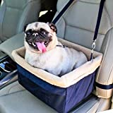 Devoted Doggy Deluxe Dog Booster Car Seat - Premium Quality Metal Frame Construction - Clip-on Safety Leash - Zipper Storage Pocket - Perfect for Small and Medium Pets Up to 15 Lbs - Blue/Beige