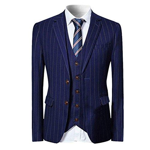 WEEN CHARM Men 3 Pieces Two Button Slim Fit Notch Lapel Suit Jacket Vest & Trousers Set,Dark Blue,Medium