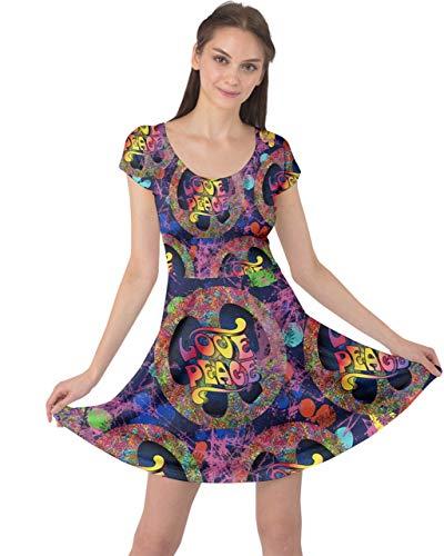 - CowCow Womens Pop Art Love Peace Sign Purple Cap Sleeve Dress - M