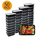 Meal Prep Containers, 50 Pack Bento Boxes Disposable Plastic Bento Insulated Lunch Box Reusable Healthy Food Storage Containers with Lids for Dishwasher Freezer Safe (750ML/ 26 OZ)