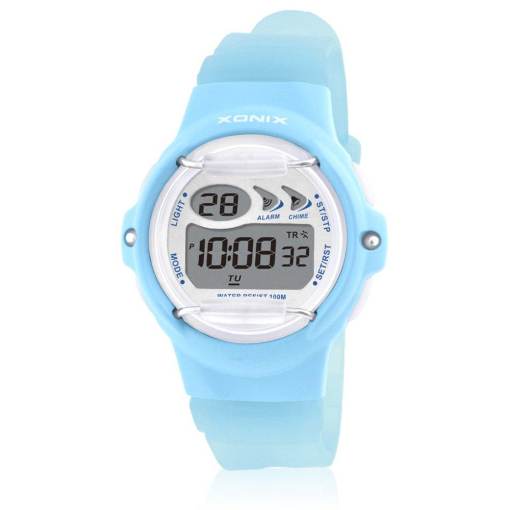 Children's multi-function jelly digital electronic watch, Led 100 m waterproof resin strap calendar alarm stopwatch girls or boys fashion wristwatch-C