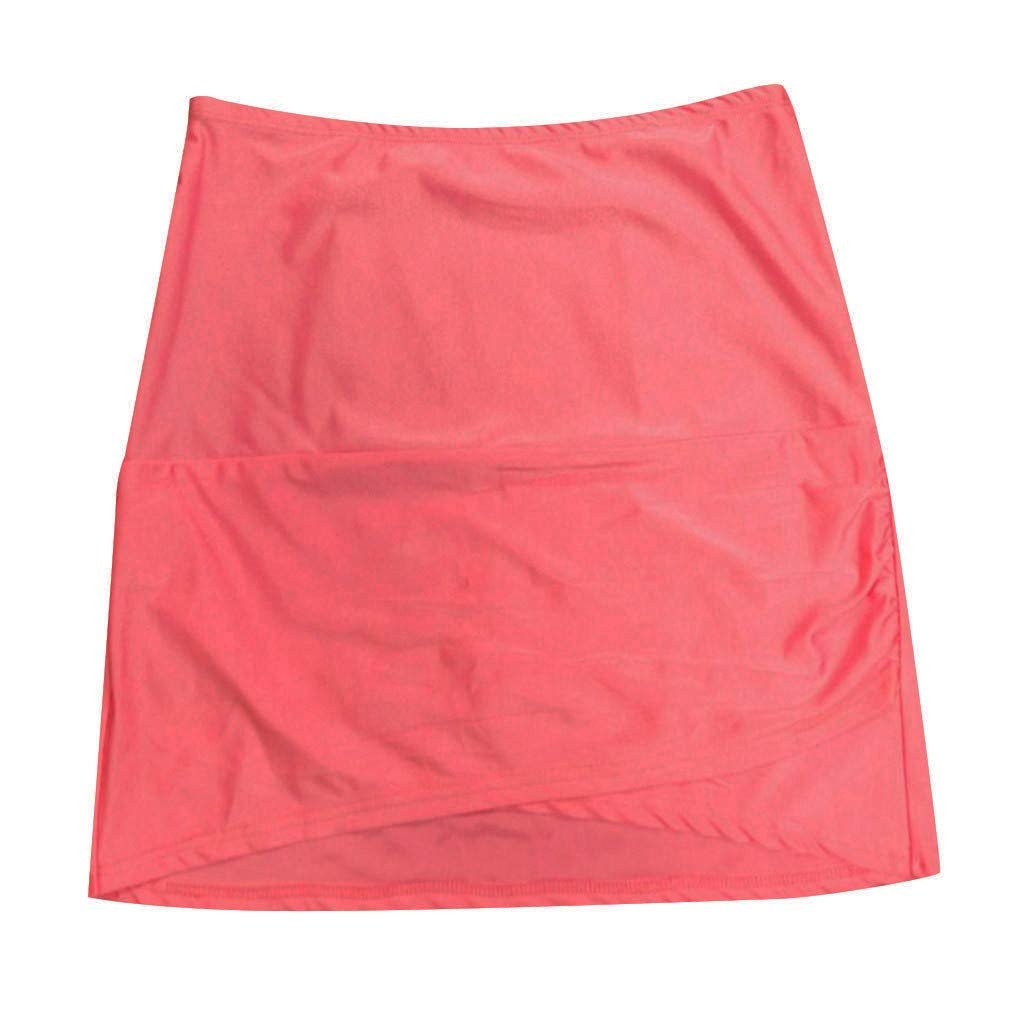 Tummy Control Swimsuit Bottoms,YEZIJIN Womens High Waist Solid Color Hem Shirring Swim Skirt Swimsuit Bikini Bottom