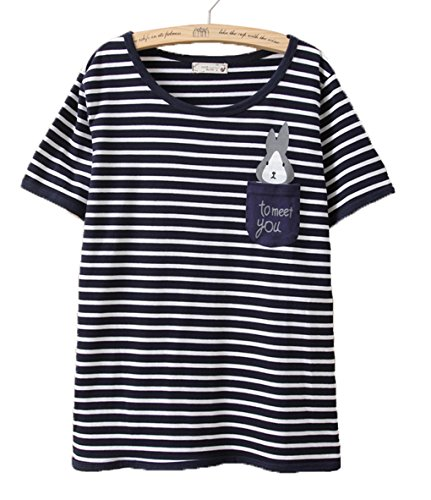 LemonGirl Women Short Sleeve Stripe Shirt Rabbit Blouse Tops