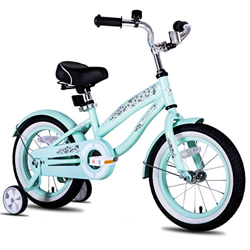JOYSTAR 14 Inch Girls Bike with Training Wheels & Bell for 3 4 5 Years, Children Beach Cruiser Bicycle with Fender, Green