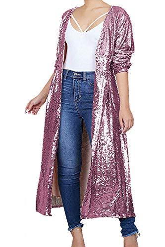 Rose Printemps Paillettes Longue Manteaux Manche Femme S Rose Automne Couleur Vêtements Zhrui Décontracté Taille à H6Eqwx1T