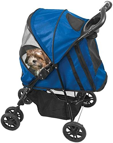 Pet Gear Happy Trails Pet Stroller for Cats Dogs, Easy One-Hand Fold with Removable Liner, Storage Basket, Mesh Ventilation