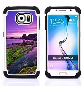 """Samsung Galaxy S6 / SM-G920 - 3 en 1 impreso colorido de Altas Prestaciones PC Funda chaqueta Negro cubierta gel silicona suave (Mar púrpura"""")"""
