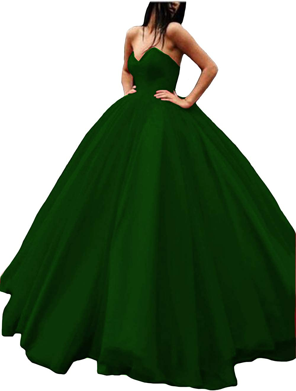 Dark Green IVYPRECIOUS Sweetheart A Line Puffy Prom Dresses Satin with Tulle Long Evening Ball Gown