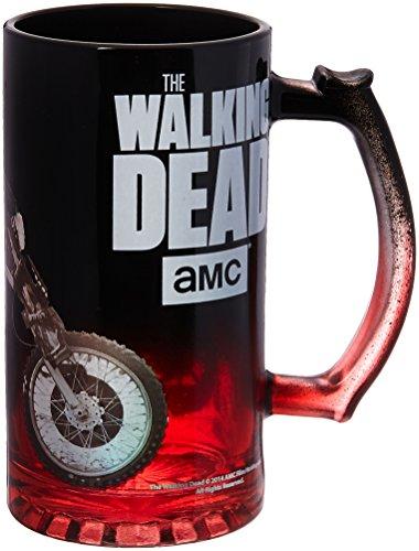 The Walking Dead OFFICIAL Daryl Dixon on Triumph Chopper Motorcycle PREMIUM Beer Stein Mug, 16ozRed/Black