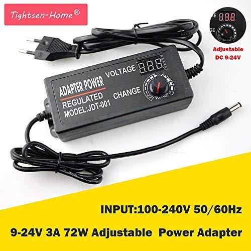YalinGE 9-24V 3A 72W Adjustable Power Adapter AC/DC Adjustable Power Adapter Supply Regulated Power Adapter Supply Display EU/US Plug