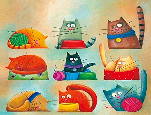 16x20 Nine Cats TINMI ARTS 5D Diamond Painting Full Round AB Drills Kits for Adults DIY Mosaic Cross Stitch Pattern Handmade Embroidery Kits Wall D/écor