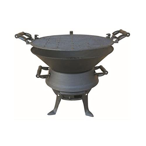 FiNeWaY@ FIREPIT BBQ FIRE BASKET OUTDOOR BARBEQUE GRILL CHARCOAL CAST IRON BARBECUE STAND