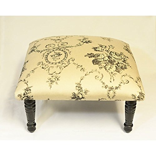 Corona Décor OSF757 Footstool, Black/Cream by Corona Décor