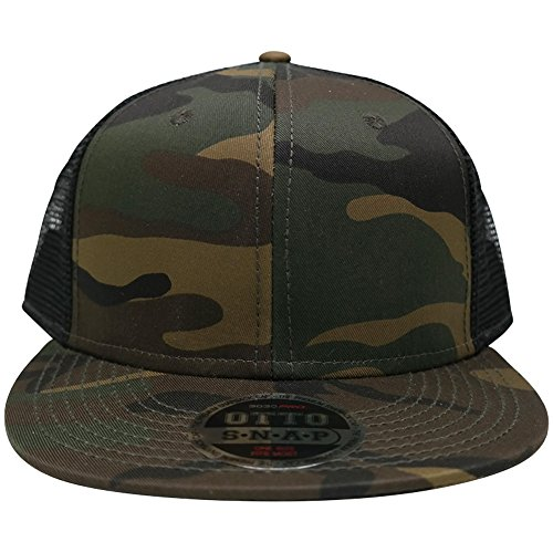 Camo Full Back Cap - Camo Pattern Premium Snapback Flat Bill Mesh Back Trucker Baseball Cap - Camo Black