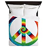 Queen Duvet Cover Tye Dye Peace Symbol