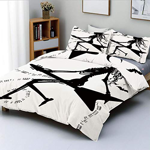 Duplex Print Duvet Cover Set Full Size,Witch Flying on Electric Guitar Notes Bat Magical Halloween Artistic IllustrationDecorative 3 Piece Bedding Set with 2 Pillow Sham,Black White,Best Gift For Kids ()